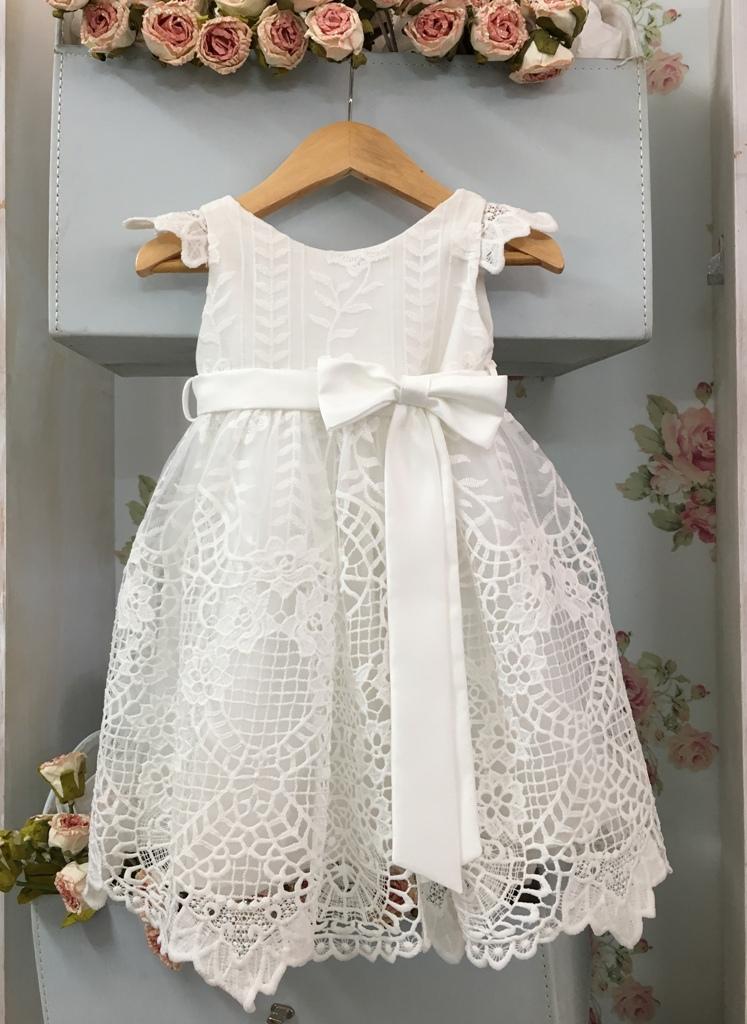 4e9442f51a62 Βαπτιστικό φορεματάκι σε λευκό χρώμα δαντέλα κιπούρ – Sweet Wish ...